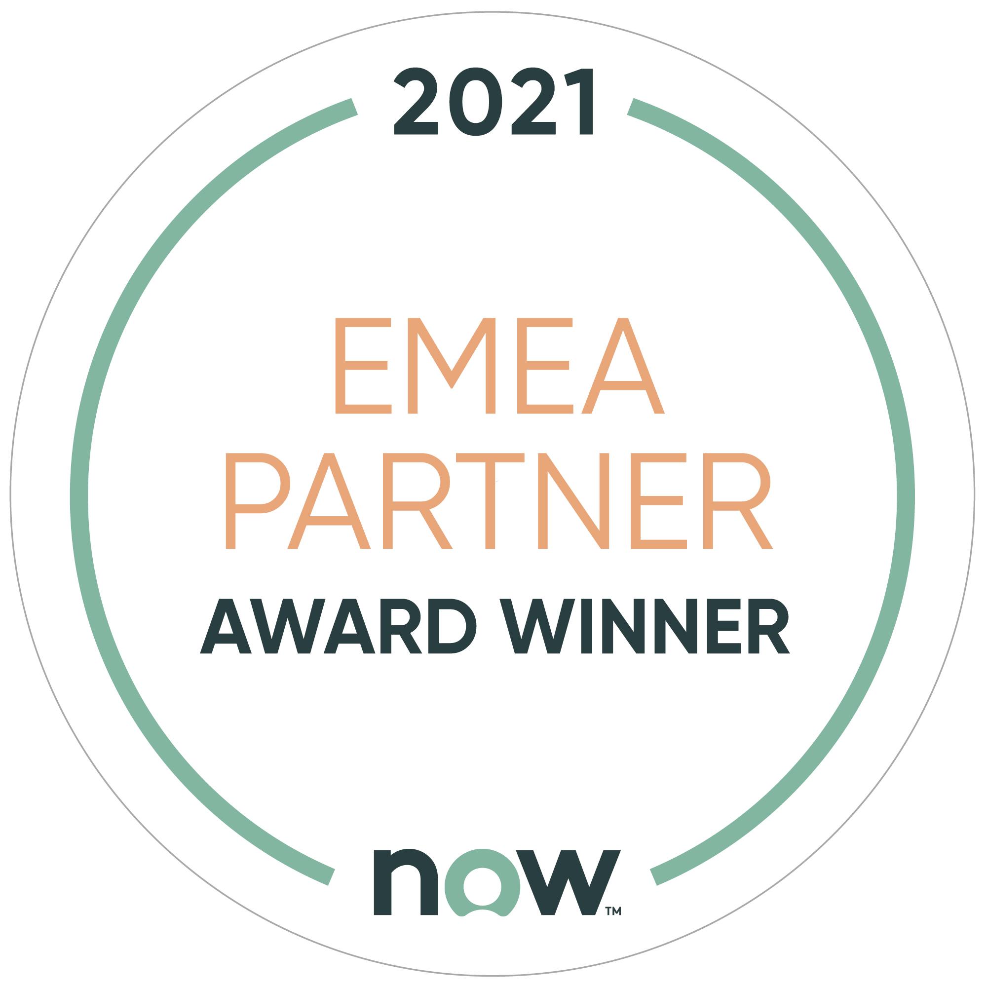 ServiceNow 2021 EMEA Partner Award Winner